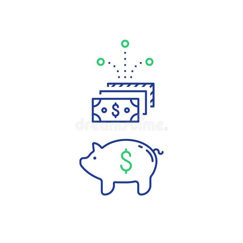 Pieniężna inwestycja, prosiątko banka pieniądze, przyszłościowi savings, budżeta fundusz ilustracja wektor