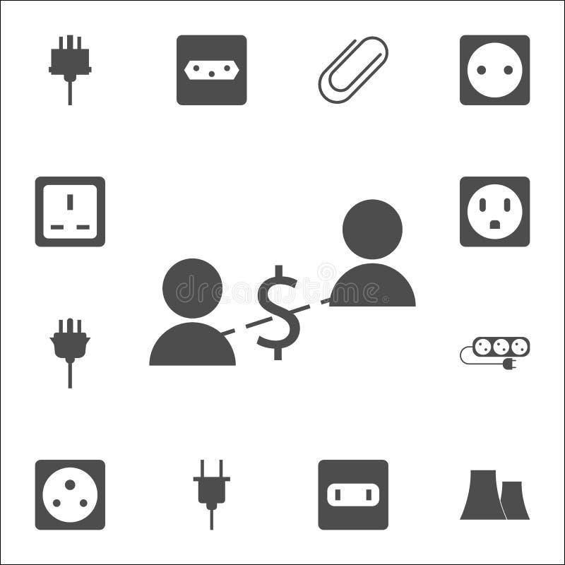 pieniężna komunikacja ludzie ikon sieci ikon ogólnoludzki ustawiający dla sieci i wiszącej ozdoby royalty ilustracja
