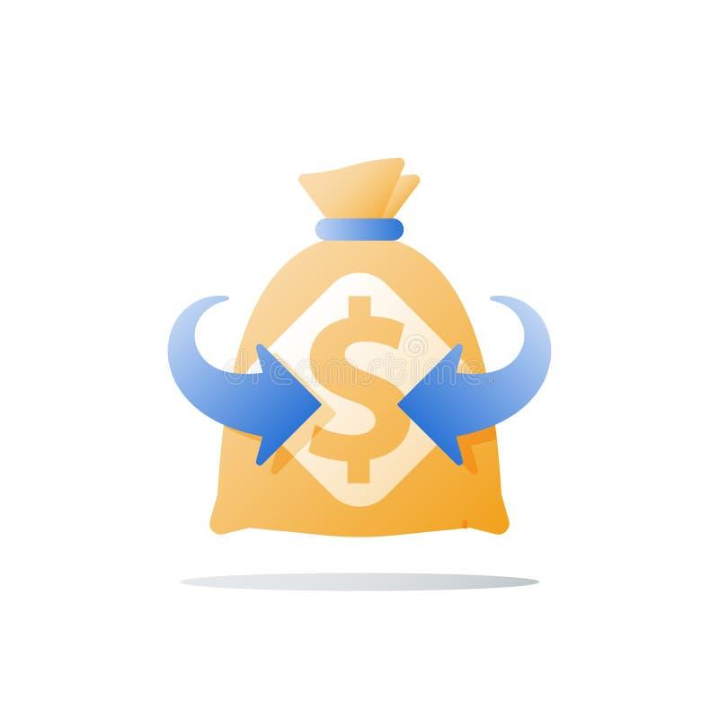 Pieniężna korzyść, super szybka gotówkowa pożyczka, finansowa pomoc, duża suma pieniądze, fundusz podwyżka, wysoki interes, inwes ilustracji