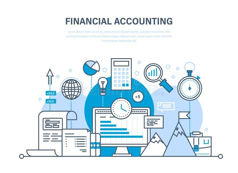 Pieniężna księgowość, analiza, badanie rynku, depozyty, wkłady, savings, statystyki, zarządzanie ilustracja wektor