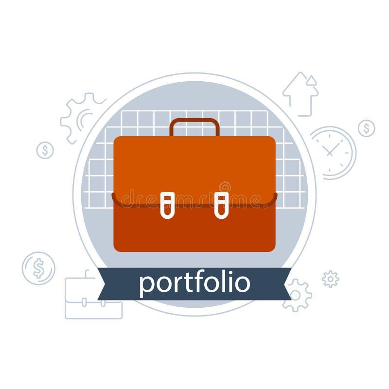 Pieniężne usługa, banków savings konto, finansowy inwestorski portfolio, teczki ikona ilustracji