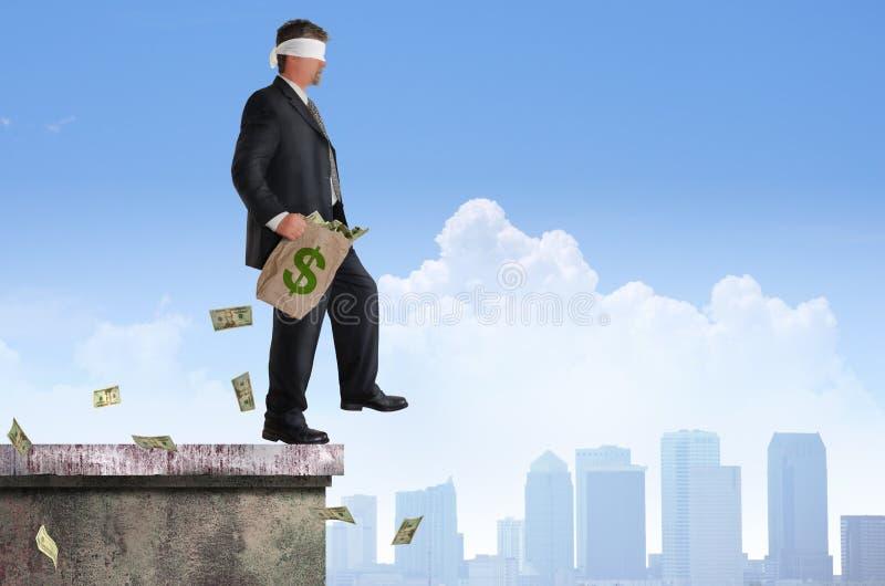 Pieniężnego ryzyka sukcesu planu mężczyzna Z zasłoniętymi oczami pieniądze obraz royalty free
