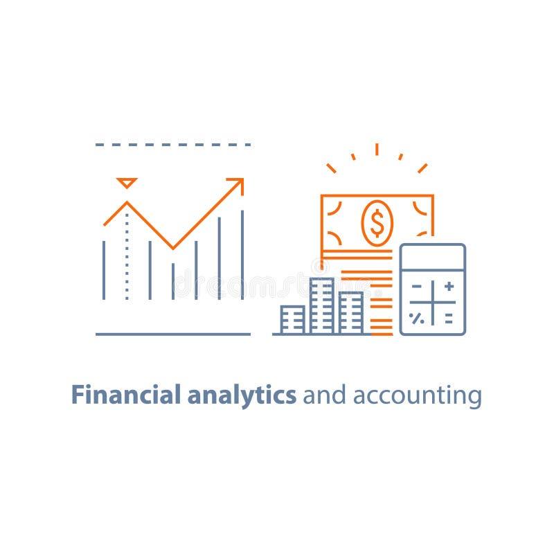 Pieniężnego występu analityka, dochodu wzrost, inwestycja długoterminowa, funduszu zarządzanie, dywidenda wykres, produktywność r royalty ilustracja