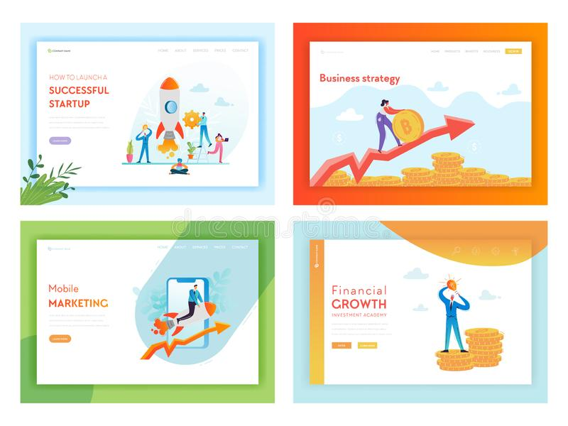Pieniężnej inwestycji Biznesowego sukcesu lądowania strony szablon Mobilny Marketingowy Początkowy strategii pojęcie z charaktera ilustracji