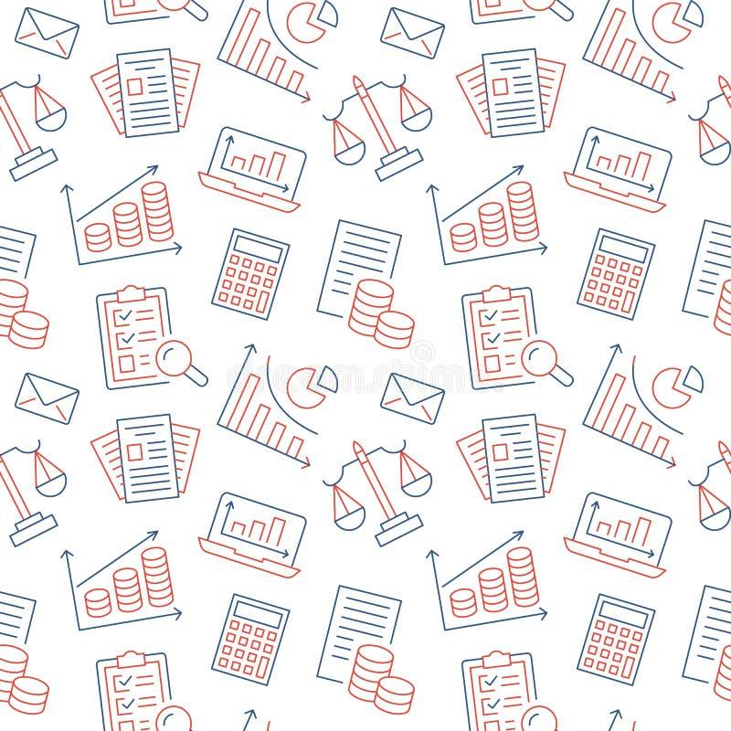 Pieniężnej księgowości bezszwowy wzór z mieszkanie linii ikonami Księgowości tło, podatku optymalizacja, pożyczka, lista płac royalty ilustracja