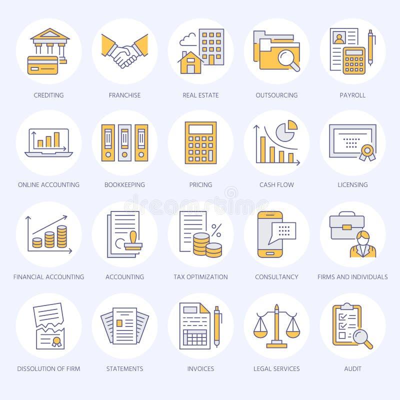 Pieniężnej księgowości mieszkania linii ikony Księgowość, podatku optymalizacja, firmowy rozpuszczenie, księgowego outsourcing, l ilustracja wektor
