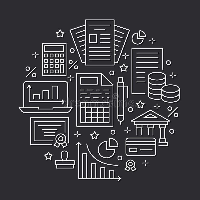 Pieniężnej księgowości okręgu mieszkania linii plakatowe ikony Księgowości broszurki pojęcie, podatku optymalizacja, firmowy księ ilustracja wektor