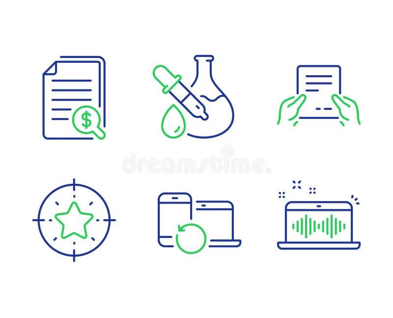 Pieniężni dokumenty, chemia eksperyment i wyzdrowienie przyrząda ikony ustawiać, wektor ilustracja wektor