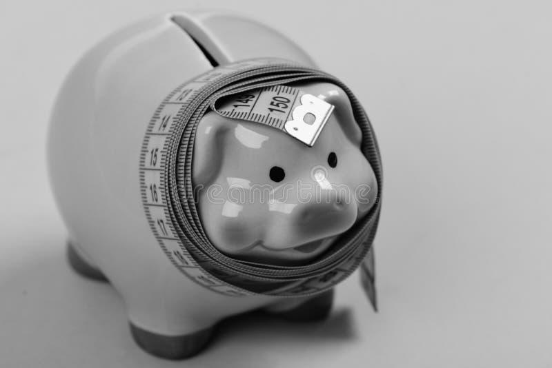 Pieniężny diety pojęcie Inwestycje, metering pomysł i liczyć Ceramiczna zabawkarska świnia zdjęcie stock