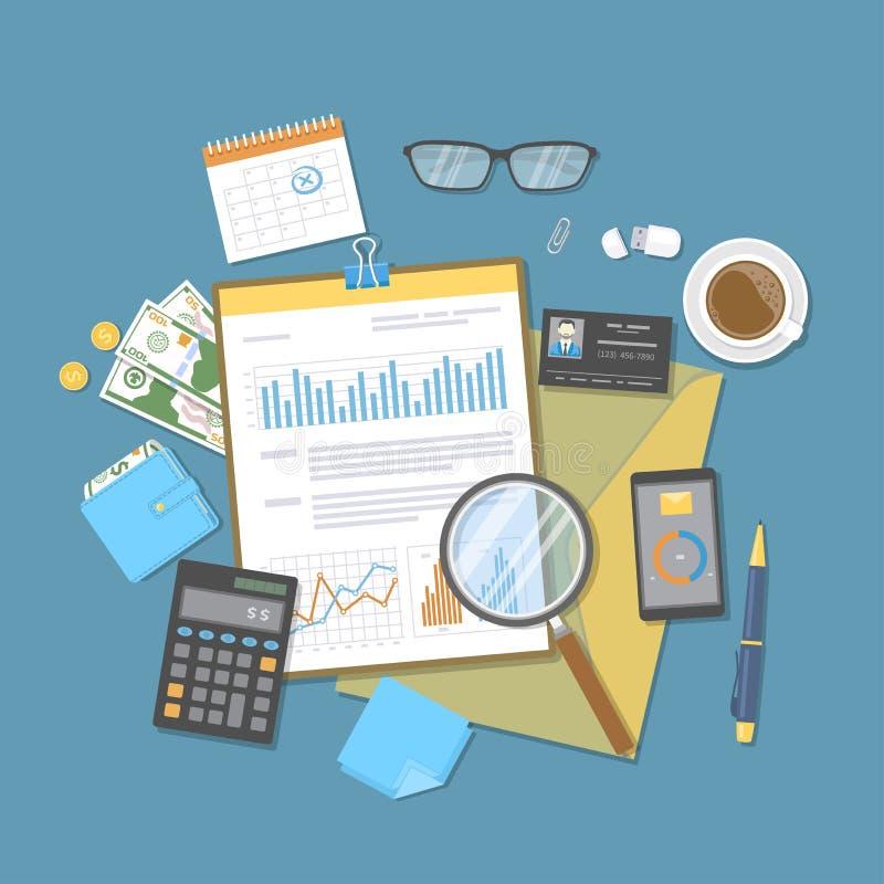 Pieniężny dokument z wykresami i mapami na schowku, calculato Rewizja, raport, analiza, badanie, planistyczna księgowość ilustracji