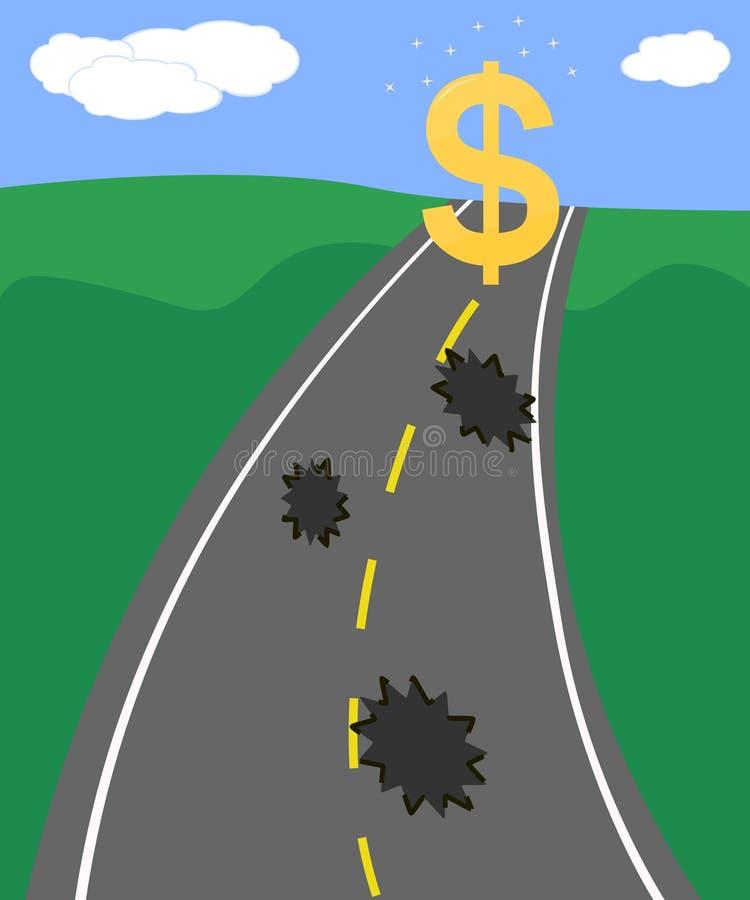 pieniężny drogowy sukces ilustracja wektor
