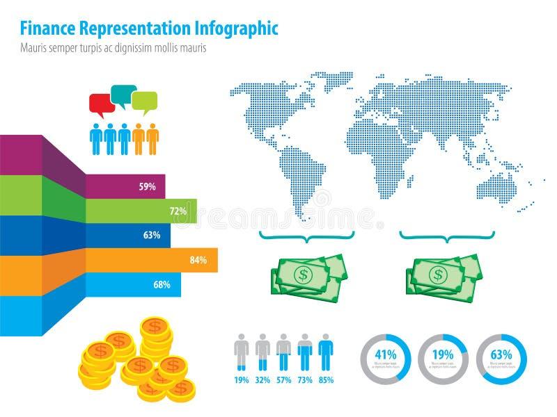Pieniężny infographic przedstawicielstwo i światowa mapa royalty ilustracja