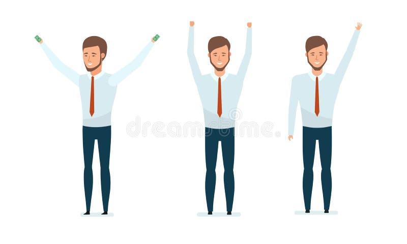 Pieniężny kierownik raduje się transakcję, ilości lider, sukces w pracie royalty ilustracja