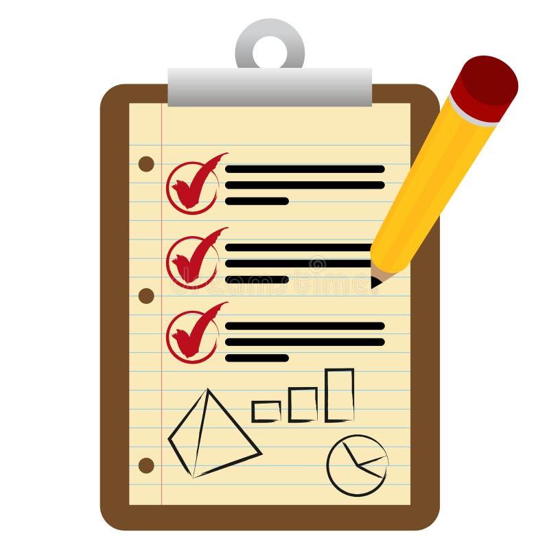 Pieniężny lista kontrolna schowek ilustracja wektor