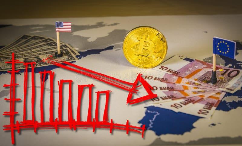 Pieniężny niedźwiadkowego rynku spada pojęcie z bitcoin między Stany Zjednoczone i Europejskim zjednoczeniem zdjęcie royalty free