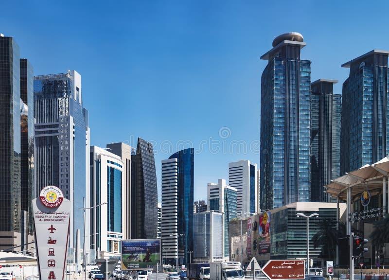 Pieniężny okręg w Doha, Katar zdjęcie stock