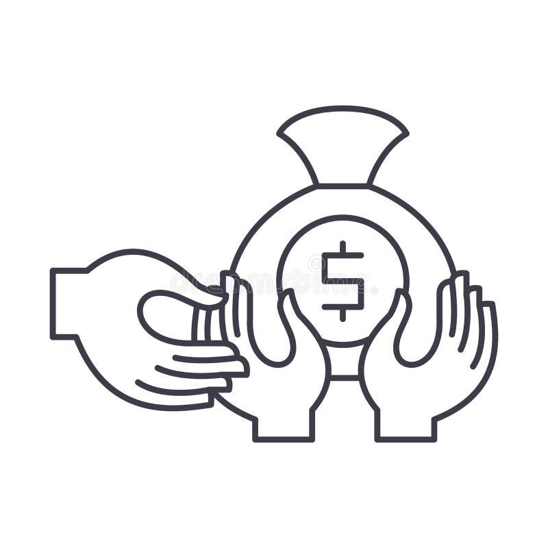 Pieniężny oszustwo linii ikony pojęcie Pieniężnego oszustwa wektorowa liniowa ilustracja, symbol, znak ilustracja wektor
