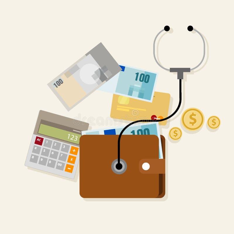 Pieniężny pieniądze zarządzania checkup planowanie royalty ilustracja
