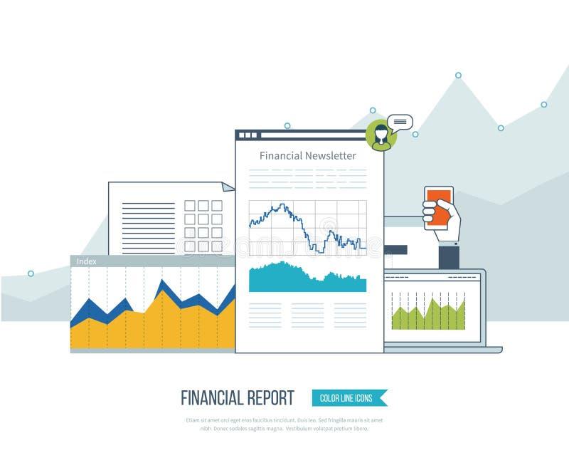 Pieniężny raport, konsultować, praca zespołowa, zarządzanie projektem i rozwój, Inwestorski biznes royalty ilustracja