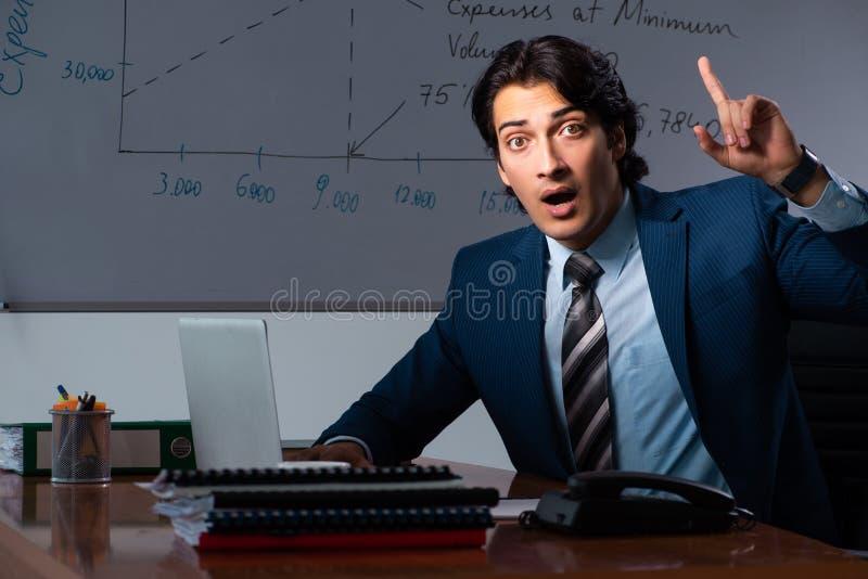 Pieniężny specjalista pracuje póżno w biurze fotografia stock