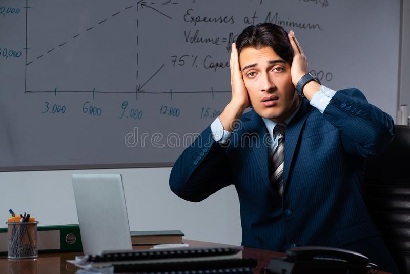 Pieniężny specjalista pracuje póżno w biurze zdjęcie royalty free