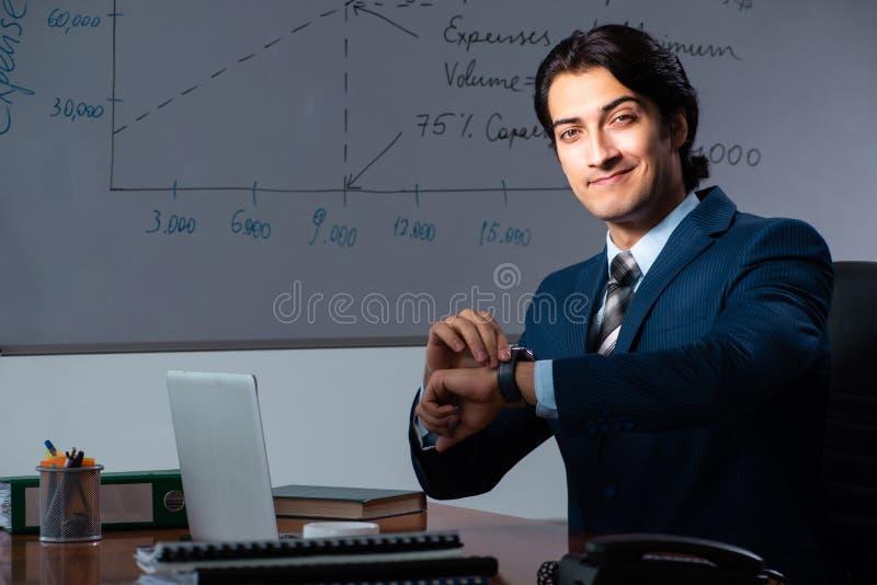 Pieniężny specjalista pracuje póżno w biurze obraz royalty free