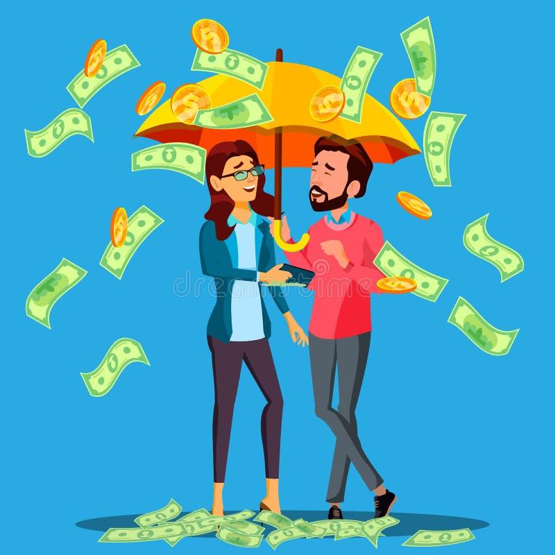 Pieniężny sukces, Biznesowy mężczyzna I kobieta stojaki Pod parasolem Pod Spada pieniądze wektorem, button ręce s push odizolowan royalty ilustracja