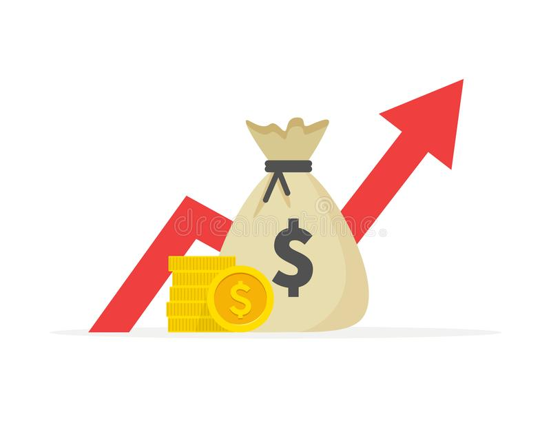 Pieniężny występ, dolarowa biznesowa produktywność, statystyki raport, fundusz powierniczy, wskaźnik rentowności, finanse royalty ilustracja
