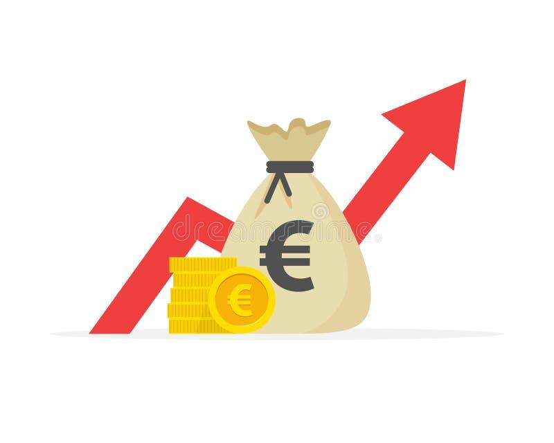 Pieniężny występ, euro biznesowa produktywność, statystyki raport, fundusz powierniczy, wskaźnik rentowności, finanse royalty ilustracja