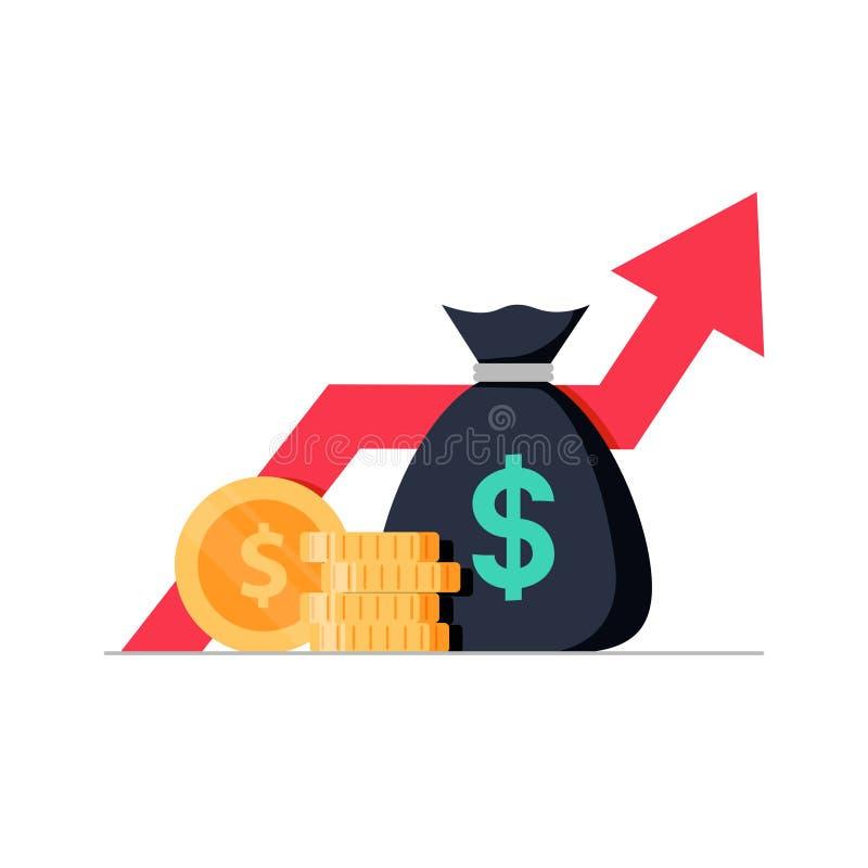 Pieniężny występ, statystyki raport, podnosi biznesową produktywność, fundusz powierniczy, wskaźnik rentowności ilustracja wektor