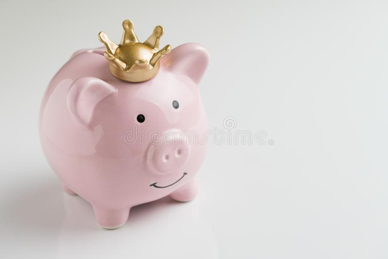 Pieniężny zwycięzca lub królewiątko pieniędzy savings pojęcie, ono uśmiecha się szczęśliwy obraz royalty free