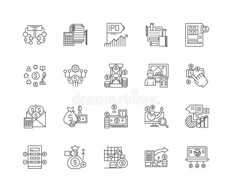Pieniężnych dane linii ikony, znaki, wektoru set, kontur ilustracji pojęcie royalty ilustracja