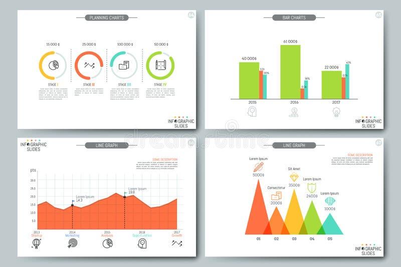 Pieniężnych dane unaocznienia pojęcie Strony z diagramem, kreskowym wykresem i planistycznej mapy elementami, ilustracji