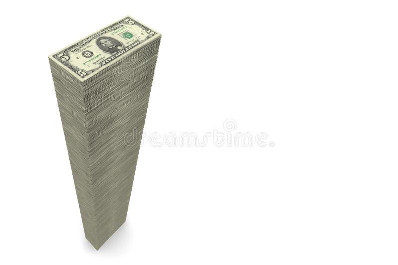 pieniędzy 5 duży dolarowych notatek wypiętrzają szerokiego ilustracja wektor