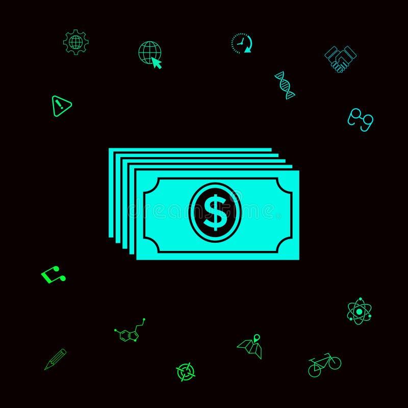 Pieniędzy banknotów sterta z dolarową ikoną Graficzni elementy dla twój designt ilustracja wektor