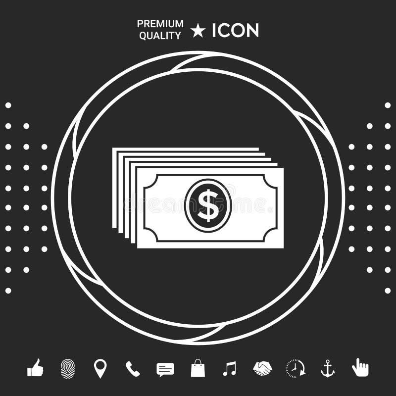 Pieniędzy banknotów sterta z dolarową ikoną Graficzni elementy dla twój designt royalty ilustracja