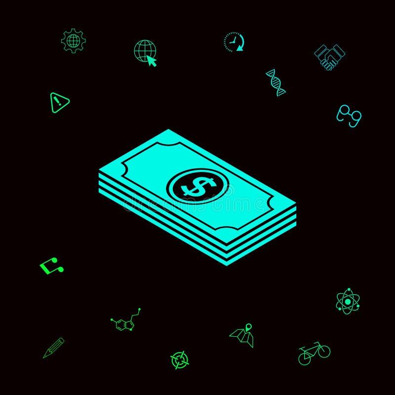 Pieniędzy banknotów sterta z dolarową isometric ikoną Graficzni elementy dla twój designt ilustracja wektor