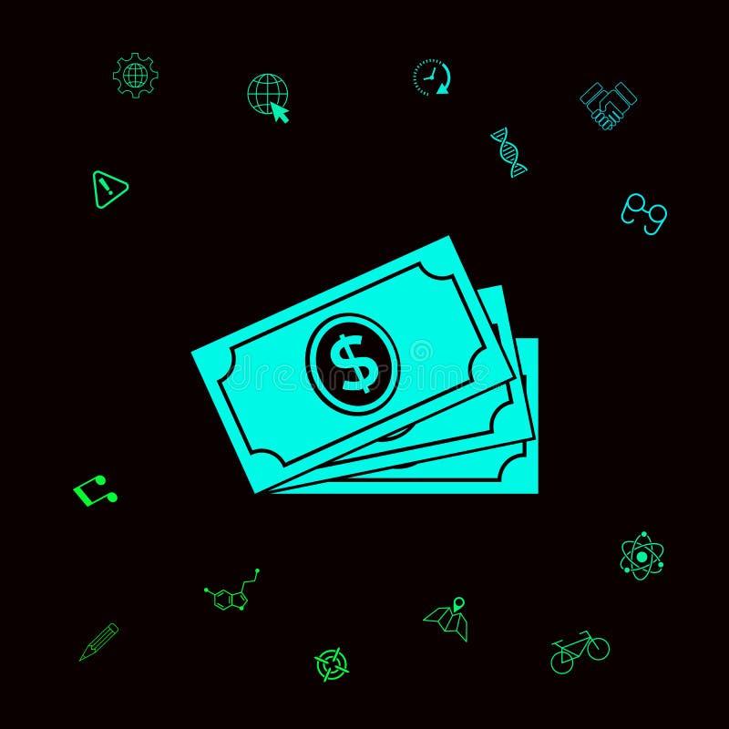 Pieniędzy banknotów sterta z dolarowym symbolem, ikona Graficzni elementy dla twój designt ilustracji