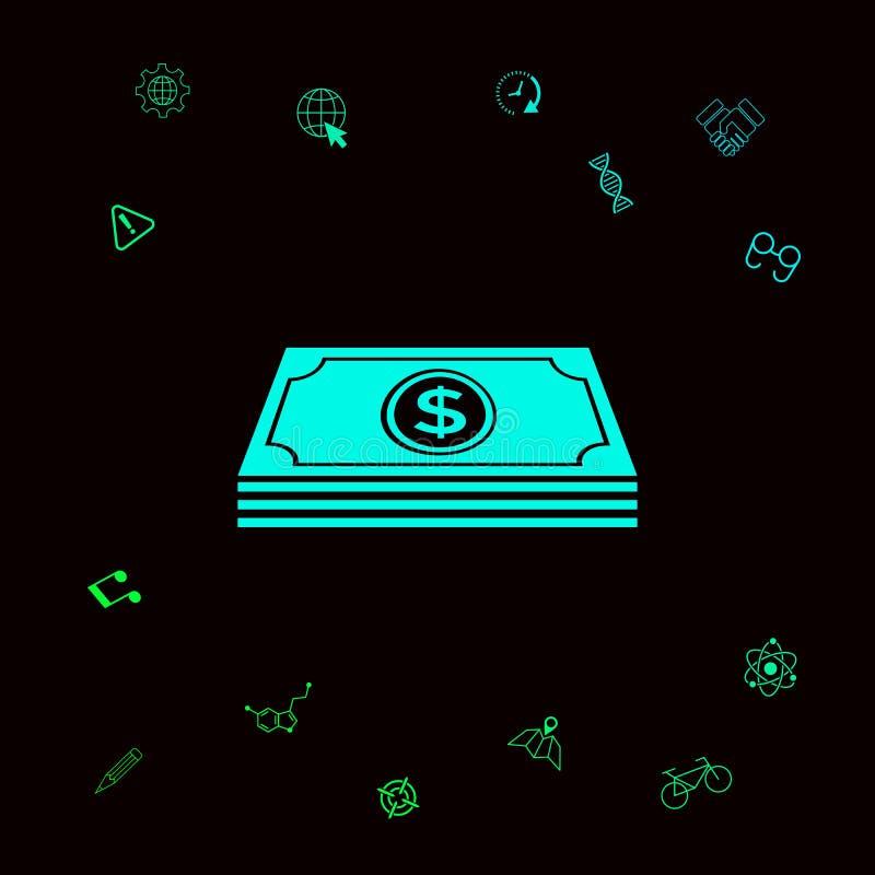 Pieniędzy banknotów sterta z dolarowym symbolem - ikona Graficzni elementy dla twój designt royalty ilustracja