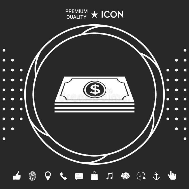 Pieniędzy banknotów sterta z dolarowym symbolem - ikona Graficzni elementy dla twój designt ilustracji