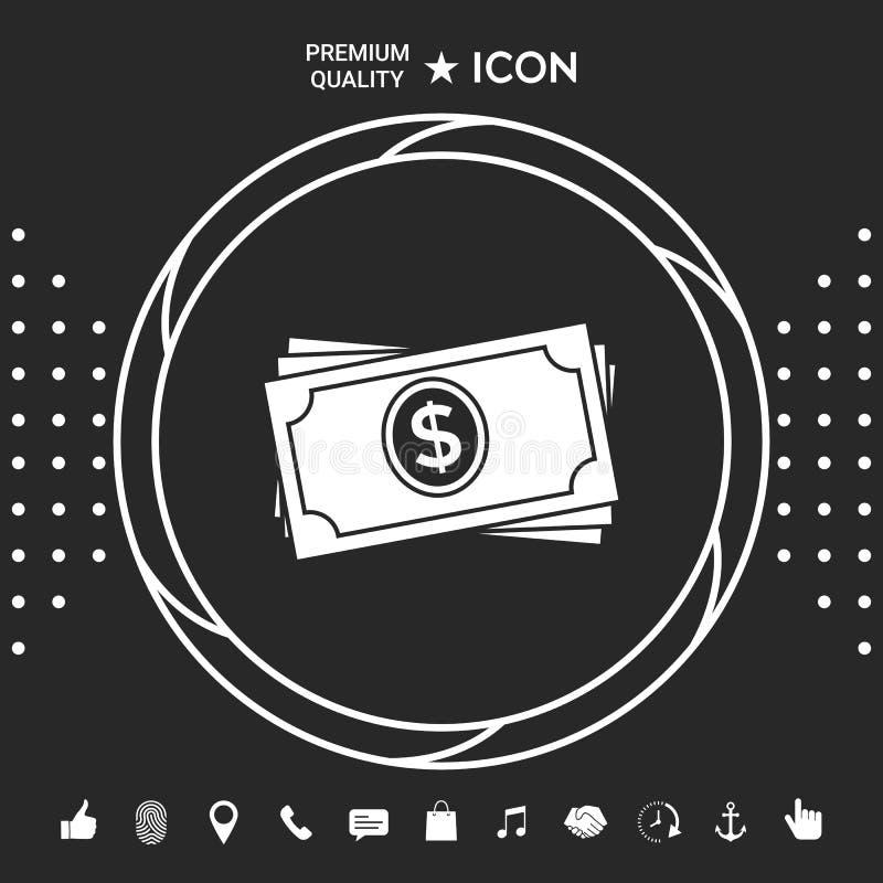 Pieniędzy banknotów sterty ikona Graficzni elementy dla twój designt royalty ilustracja