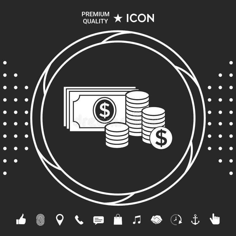 Pieniędzy banknoty brogują i sterta monety ikona z dolarowym symbolem Graficzni elementy dla twój designt ilustracji
