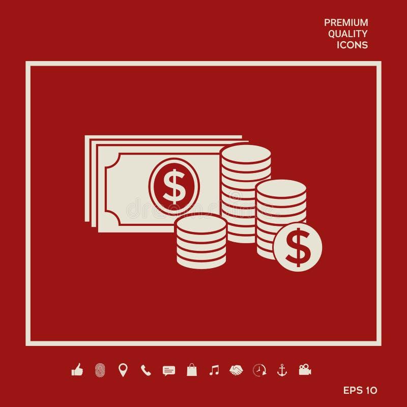 Pieniędzy banknoty brogują i sterta monety ikona z dolarowym symbolem Graficzni elementy dla twój projekta royalty ilustracja