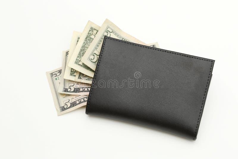 Pieniędzy dolary w czarnym portflu zdjęcie stock