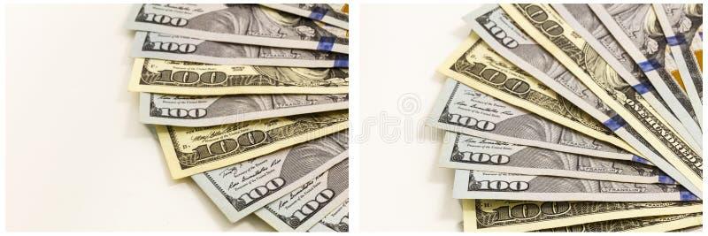 Pieniędzy rachunków kolażu wachlujący pokaz obraz stock
