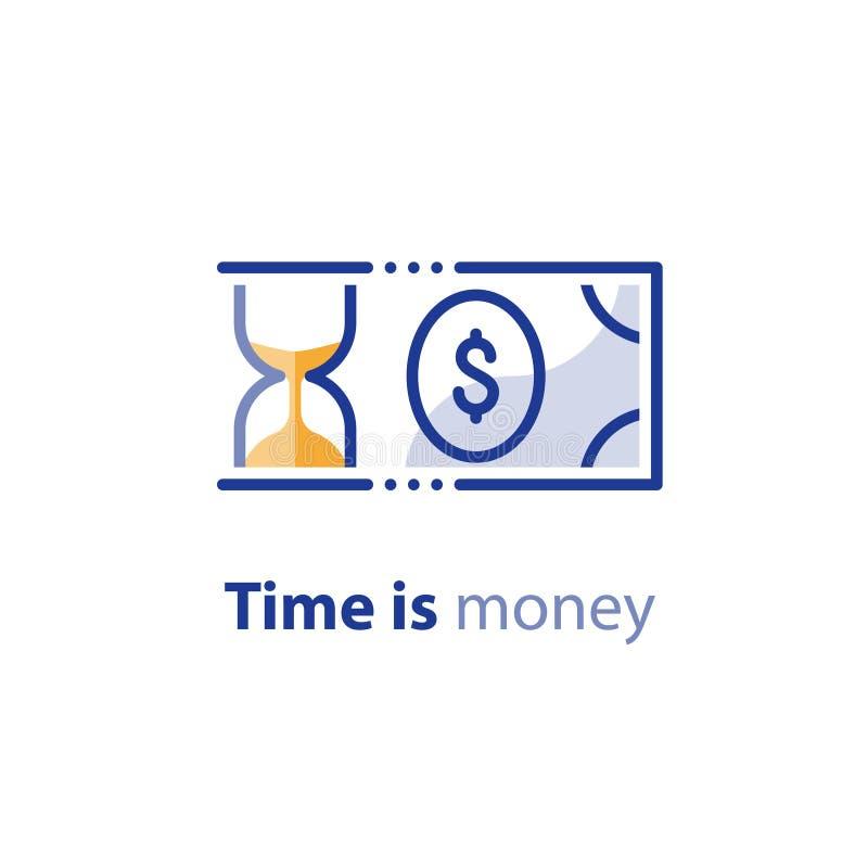 Pieniędzy savings, inwestorski plan, rynek papierów wartościowych, finanse usługa, kreskowa ikona royalty ilustracja