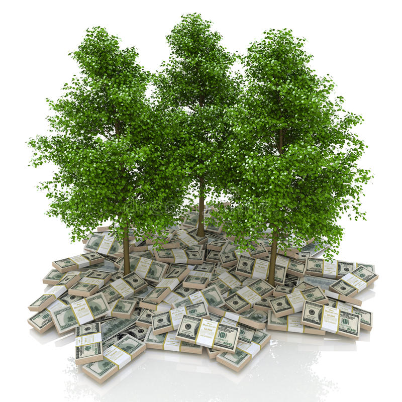 pieniędzy stosów amerykańscy duży dolary dolary i drzewo finanse ilustracji