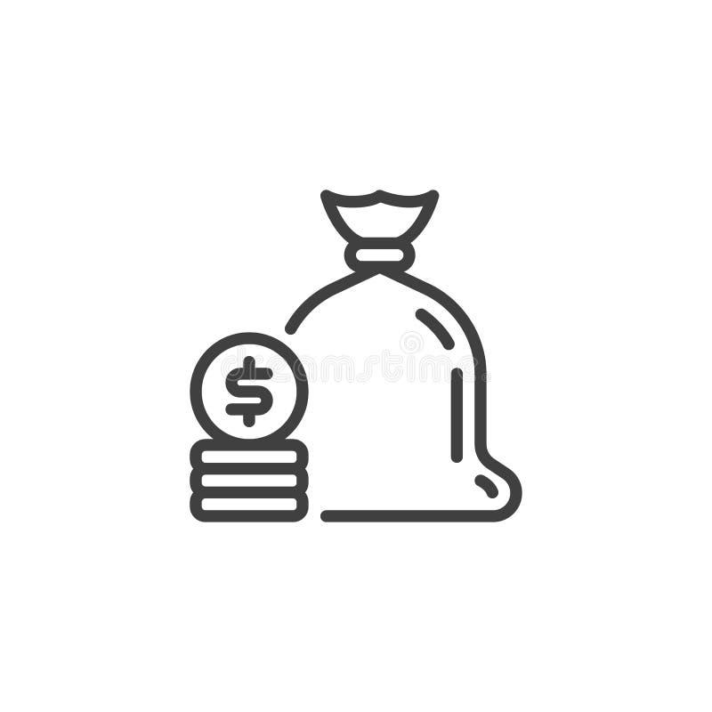 Pieni?dze torba z monety kreskow? ikon? ilustracji