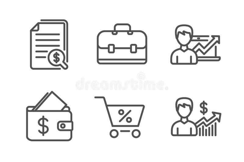 Pieni??ni dokumenty, ikony ustawia?, portfla i portfolio Sukcesu biznes, wzrostowi znaki, oferty specjalnej i biznesu wektor royalty ilustracja