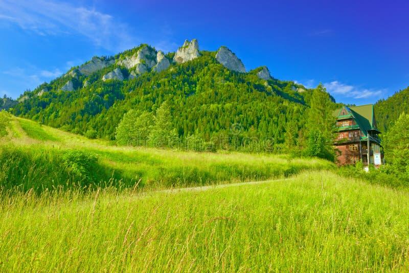 Pieniny山的三个冠断层块 库存照片